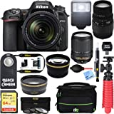 Nikon D7500 Black Digital SLR Camera with 18-140mm VR & 70-300mm f/4-5.6 SLD DG Macro Telephoto Lens + Accessory Bundle (Color: Black, Tamaño: 2 Lens Kit 18-140mm & 70-300mm)