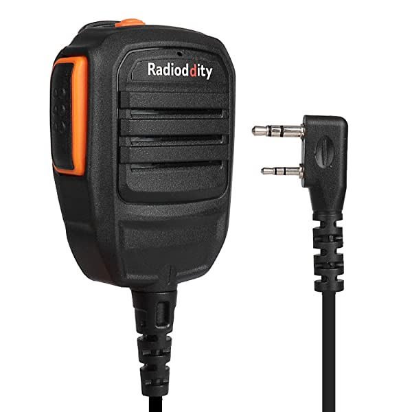 Radioddity RS22 Remote Speaker Mic with Clear Sound, Compatible with Baofeng UV-5R UV-5RX3 BF-888S BF-F8HP UV-82HP H-777 Radioddity TYT Kenwood Two Way Radio Walkie Talkie (Color: Black/Orange)