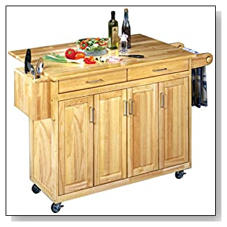 Home Styles Wood Top Kitchen Cart with Breakfast Bar