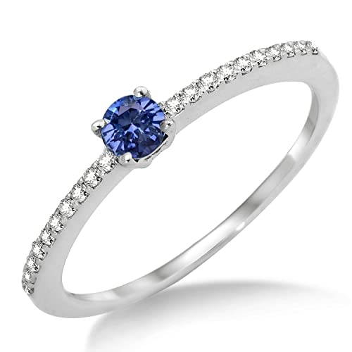 Miore MP9025RM Sapphire Ring, 9 ct White Gold, Diamond Setting
