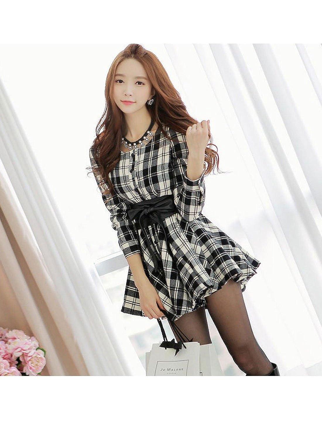 Allegra K Lady Single Breasted Plaids Pattern Casual Shirt Dress w Belt   Amazon.com