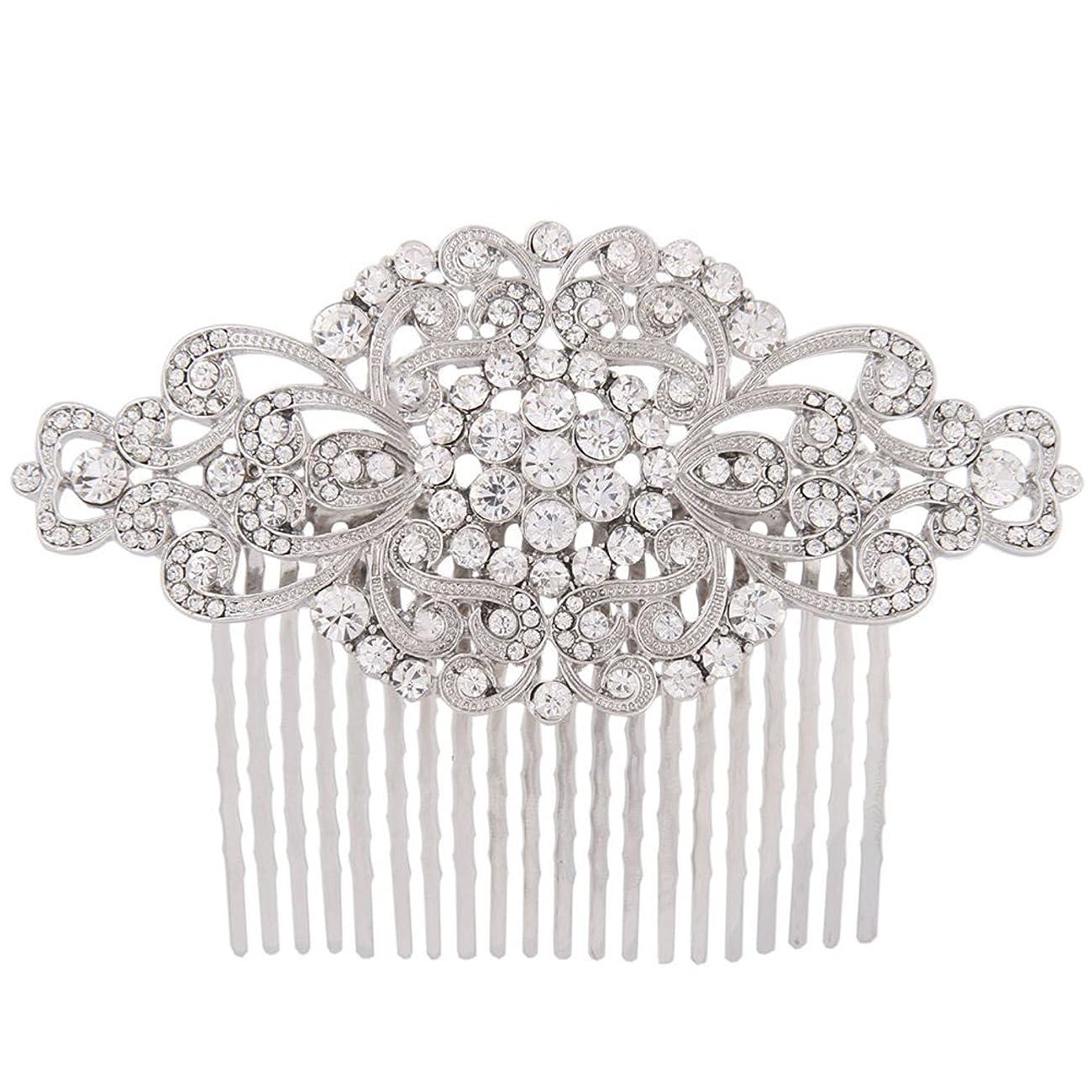 Fairy Moda Rhinestone Bridal Hair Comb Silver Wedding Bridesmaid Gift Vintage Hair Piece 0