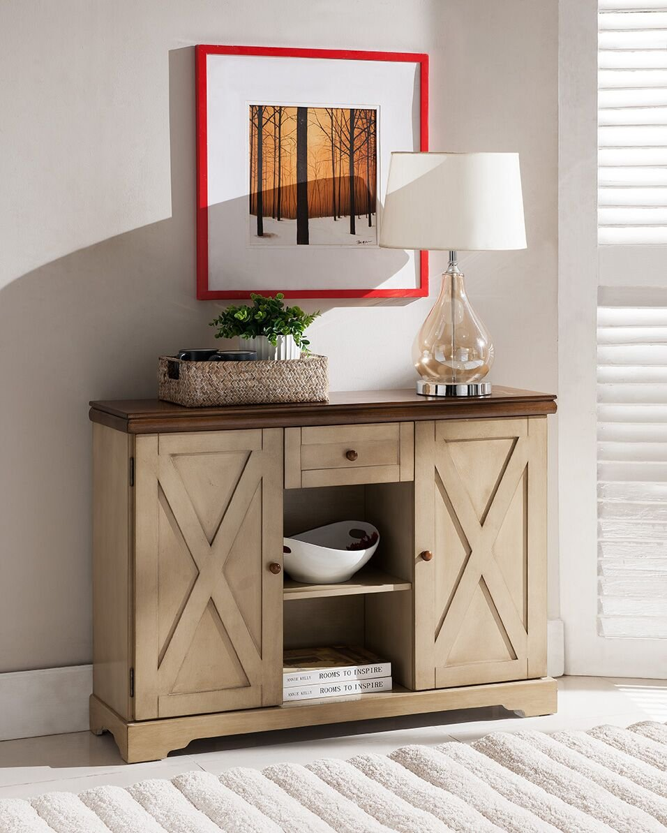 Kings Brand Furniture Wood Buffet Cabinet Console Table, Antique White/Walnut 0