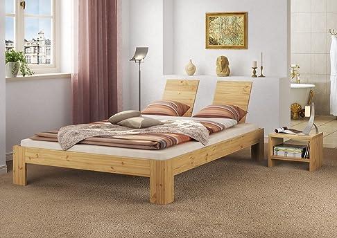 60.66-14 Letto doppio 140x200 in legno di pino robusto con assi di legno