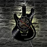 LED Wall Lights, Night Light, Wall Lamp, Musical Guitar Led Vinyl Wall Clock Color Change Decorative Home Vintage Gift Silhouette LP Backlight Remote Controller (Color: Black)