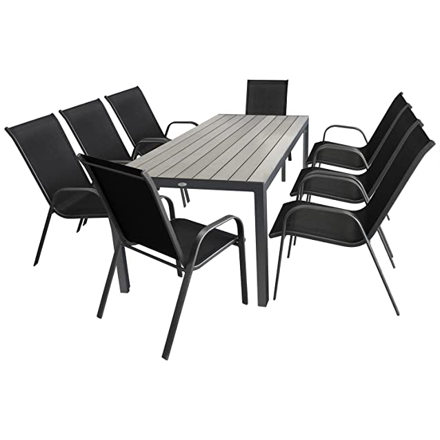 Set di mobili da giardino tavolo da giardino alluminio 205x90cm + 8x sedia da giardino impilabile arredamento giardino mobili da salotto