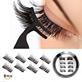 Dual Magnetic Eyelashes-0.2mm Ultra Thin Magnet-Lightweight & Easy to Wear-Best 3D Reusable Eyelashes Extensions With Tweezers (Black) (Color: Pink, Tamaño: 4 pc with tweezers)
