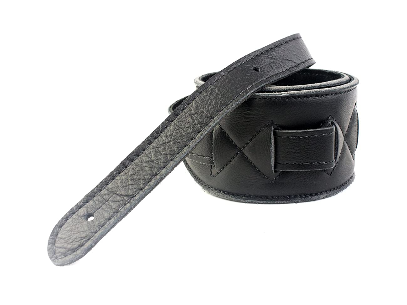 UK Made Black Vintage Extra Wide Soft Real Leather Guitar Strap with Buckle Adjustable Length 1