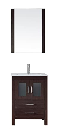Virtu USA KS-70024-C-ES Modern 24-Inch Single Sink Bathroom Vanity Set with Polished Chrome Faucet, Espresso
