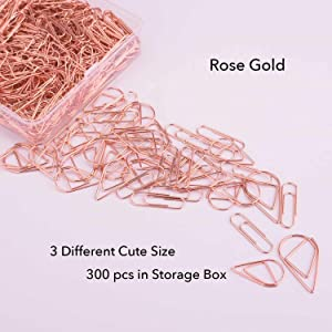 300 Premium Cute Paper Clips Rose Gold Assorted Sizes,Smooth Stainless Steel Wire Paper Clips for Office School Students Girls Kids Paper Document Organizing Wedding with Storage Box by VENCINK (Color: 300 Pcs Cute Paper Clips)