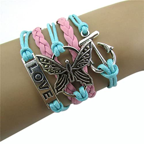 Suppion-Infinity-Love-Anchor-Leather-Crown-Charm-Bracelet-Plated-Silver-DIY