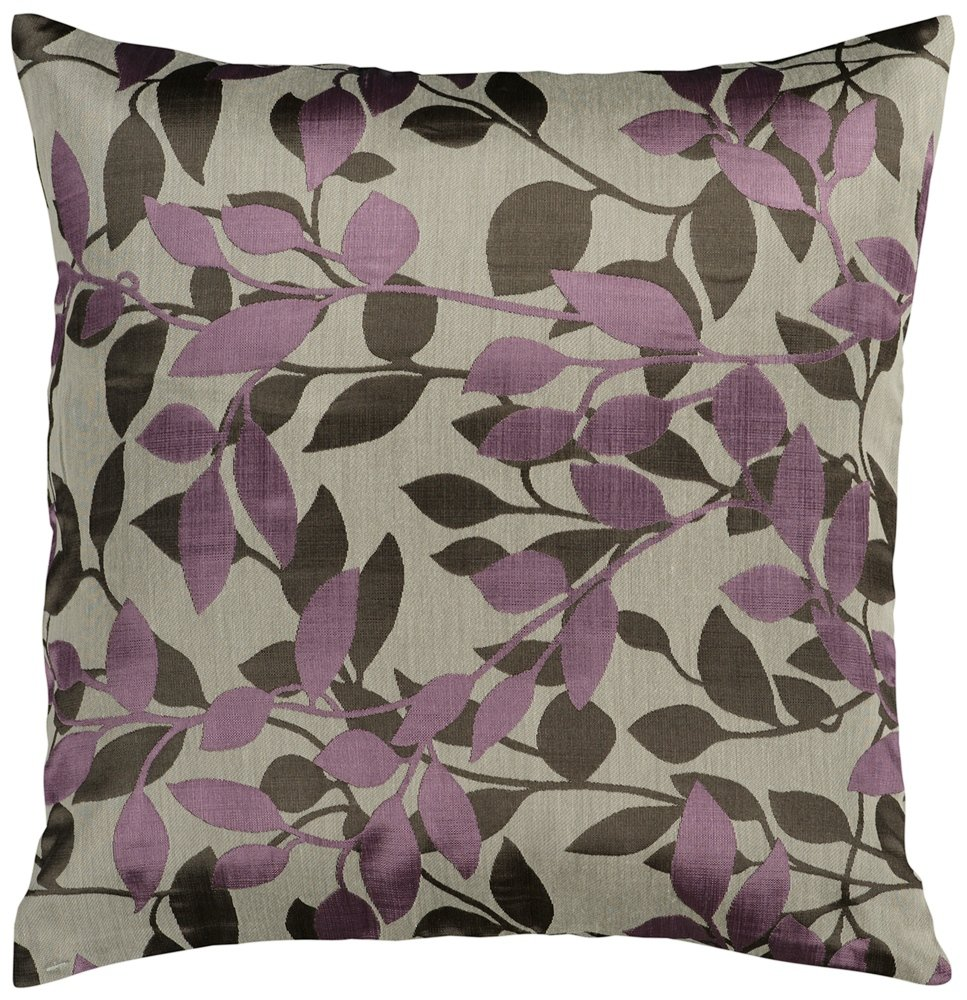 Surya HH-062 Hand Crafted 88% Polyester / 12% Polyamide Plum 18 x 18 Floral Decorative Pillow
