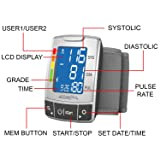 AccuraPulse Fully Automatic Portable Wrist Blood Pressure Cuff Monitor, Easy-to-Read LCD with Two User Memory Support & Hypertension Indicator and Irregular Heartbeat Detection