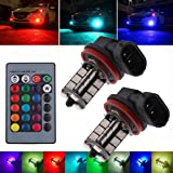 EEEKit 2Pcs 12V 27SMD 5050 Multi-Color RGB LED Fog Lights Driving Bulbs Remote H8/H11