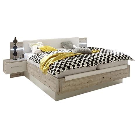 Doppelbett FLORA 180x200 cm in Sandeiche/weiss, Bett Bettanlage, mit 2 Nachtkommoden Polsterkopfteil und LED Beleuchtung
