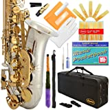 Lazarro 360-2C E-Flat Eb Alto Saxophone Silver-Gold Keys with Case, 11 Reeds, Care Kit and Many Extras (Color: SILVER/GOLD Keys, Tamaño: Standard)