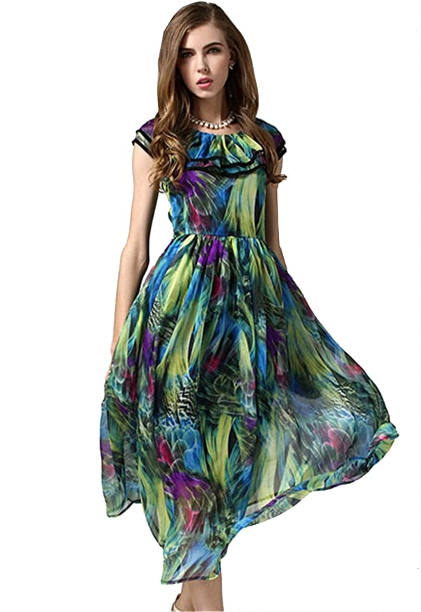 SheIn® Women's Multicolor Vintage Floral Chiffon Maxi Dress