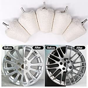 Swpeet 5 Pcs Cone-Shaped White Flannelette Polishing Wheel Grinding Head With...