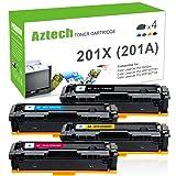 Aztech Compatible HP 201A 201X CF400X M277DW M252DW Toner Cartridge for HP MFP M277dw Toner HP Color LaserJet Pro MFP M277dw HP Laserjet Color Pro M252dw Toner (4PK-201A CF400A CF401A CF402A CF403A)