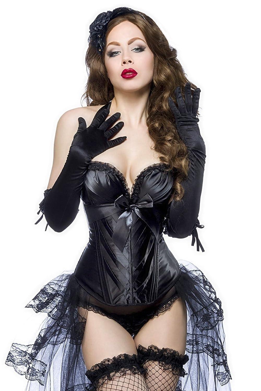 Schwarze Dessous Burlesque Satin-Corsage mit Rüschen, Cups und Schnürung jetzt kaufen