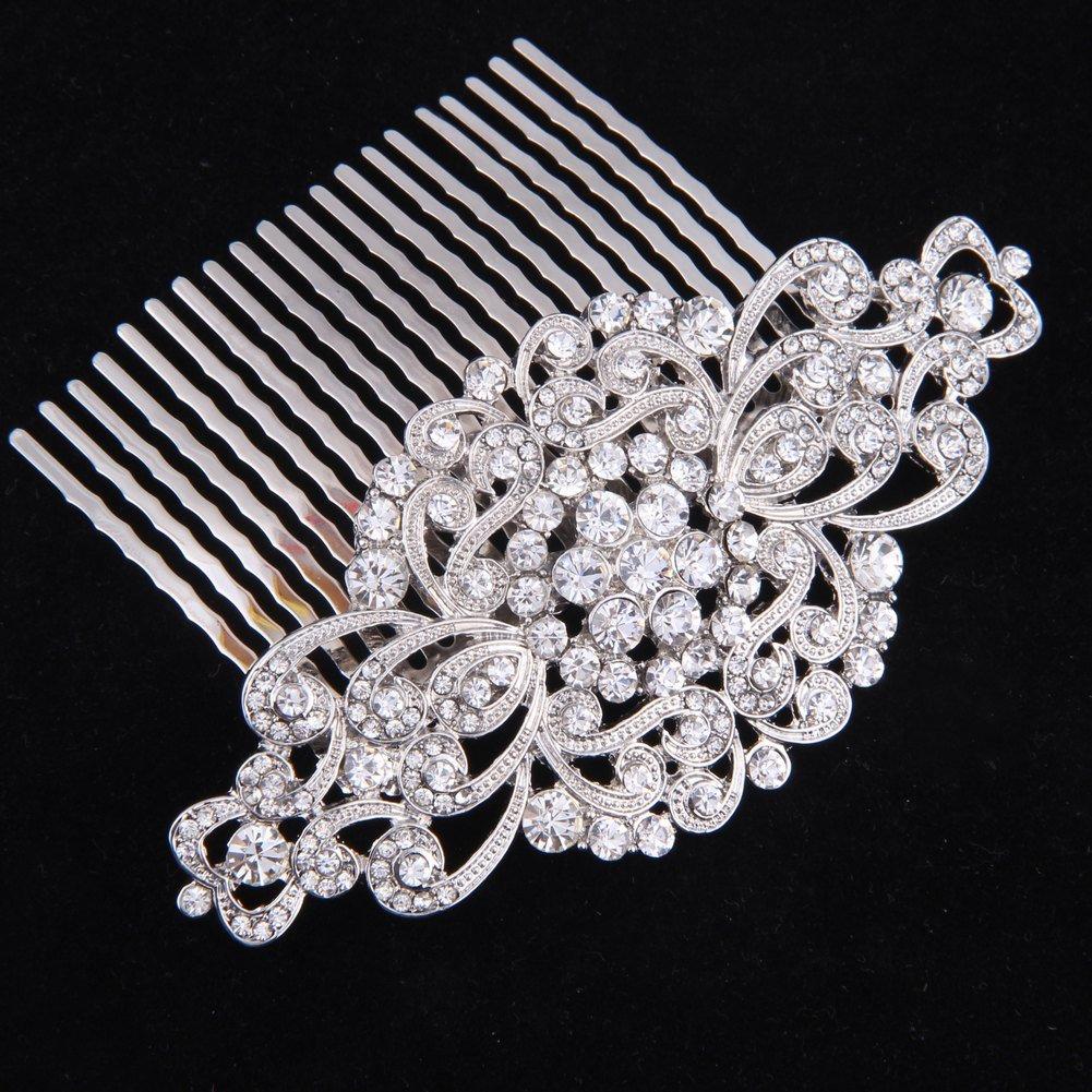 Fairy Moda Rhinestone Bridal Hair Comb Silver Wedding Bridesmaid Gift Vintage Hair Piece 1