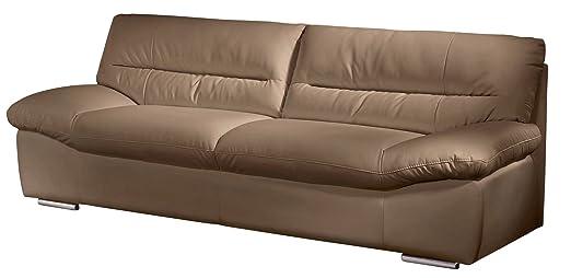 Cotta C060200 M9037 2er Sofa, echtes Leder Farbe cappuchino, B / T / H 198 / 100 / 87 cm