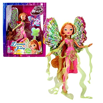 World of Winx - Dreamix Fairy - Flora Poupée 28cm avec Robe Magique