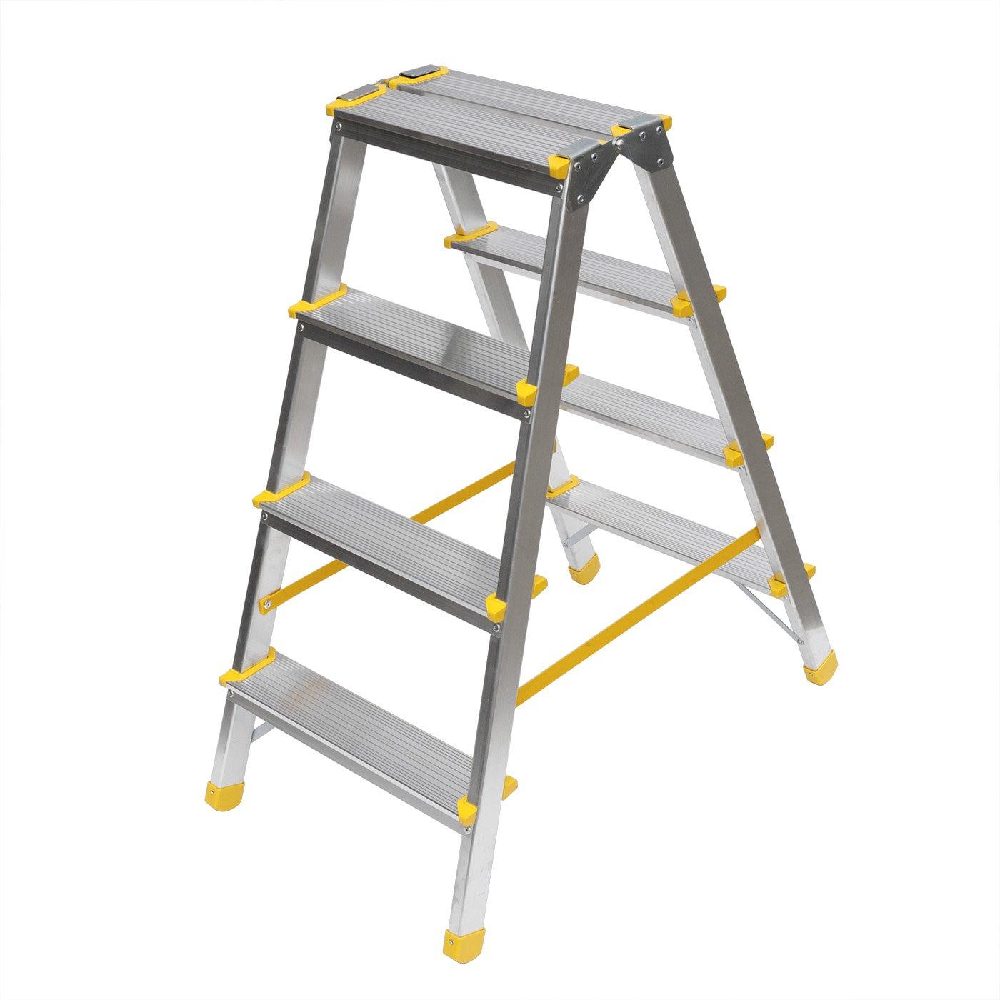 aluminium trittleiter beidseitig begehbar 2x4 stufen super haushaltsleiter meiner meinung. Black Bedroom Furniture Sets. Home Design Ideas