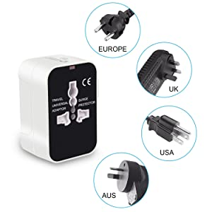 Travel Adapter, LKY DIGITAL Worldwide All in One Universal Power Adapter AC Plug Converter International Wall Charger with Dual USB Charging Ports for US EU UK AUS Europe Cell Phone (White & Black)