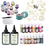 2x100ML Crystal Epoxy Resin, 1 Lamp Tweezer 15 Pearlescent Pigment 13 Liquid Pigment 12 Glitter Sequins 17 Open Metal with Tape for Jewelry Making Craft Art Jewelry (Tamaño: pigment+bezel+sequin+lamp)
