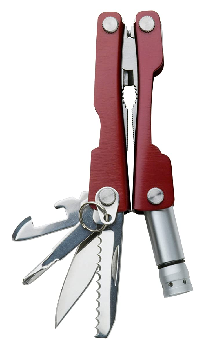 Swiss+Tech ST35000 Metallic Maroon 8-in-1 Mini Pocket Multitool for Camping, Sports, Hardware