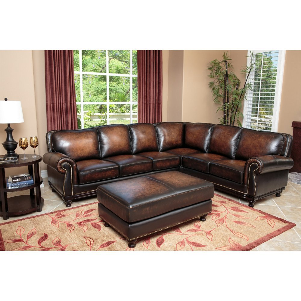 Abbyson Living Nizza Hand Rubbed Leather Sectional Sofa and Ottoman -