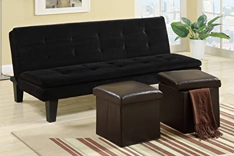 Poundex F7197 Black Microfiber Fabric Adjustable Sofa With Ottomans