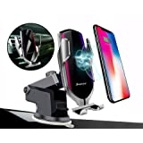 Balbo QI Wireless Car Charger Mount Automatic Clamping Fast Charging Phone Holder Dashboard Air Vent Windshield Dash Compatible with iPhone 11 Pro Max/Xs Max/XR/Xs/8 Plus+ Samsung Galaxy S10e/S10/S9 (Color: Silver)