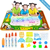Doodle Drawing Mat, YEEGO Water Doodle Mat Aqua Coloring Mat Extra Large Size 39.5X27.5 inch 5 Magic Water Pens and 8 Molds 4 Template No Mess Doodle Gift for Boy Girl(X-Large Size) (Color: X-large Size(39.5 X 27.5inch))