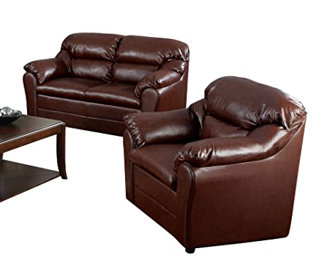 ACME 15151A Connell Loveseat with Brown Bonded Leather Match