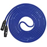 LyxPro Balanced XLR Cable 15 ft Premium Series Professional Microphone Cable, Powered Speakers and Other Pro Devices Cable, Blue