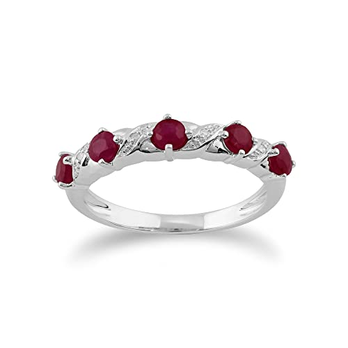 Gemondo Ruby Ring, 9ct White Gold 0.55ct Ruby & Diamond Half Eternity Ring