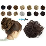 Haironline Scrunchie Bun up Do Hair Piece Hair Ribbon Ponytail Extensions Wavy Curly (Color: Natural Black Mix Dark Auburn, Tamaño: Thicker Size)