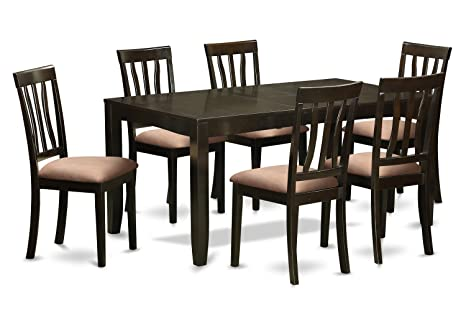 East West Furniture LYAN7-CAP-C 7-Piece Formal Dining Table Set, Cappuccino Finish