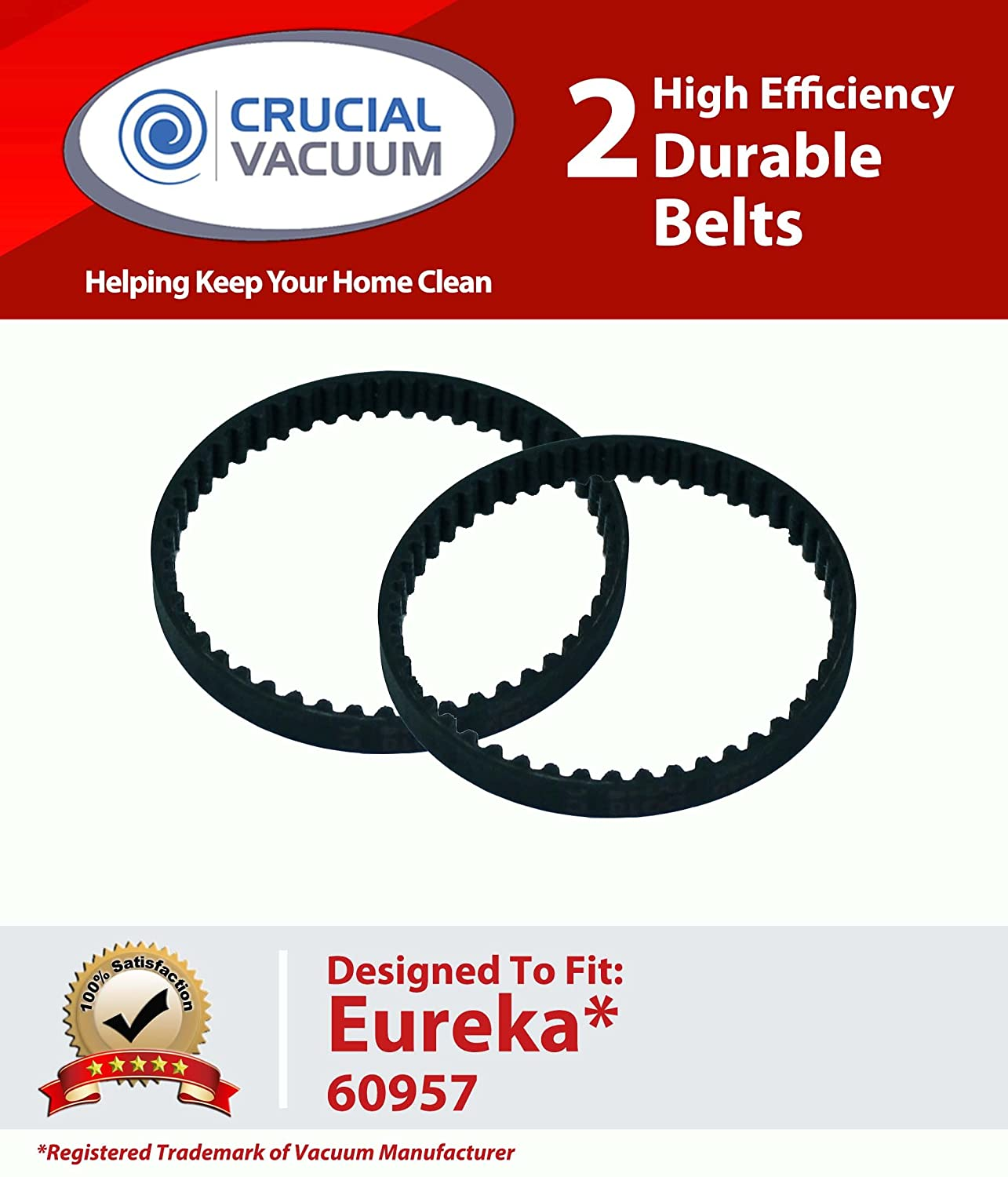 Crucial Vacuum 2 Eureka 60957 Belts; Fits Eureka Hand-Held Vacuum; Part # 60957; Designed & Engineered by Crucial Vacuum at Sears.com