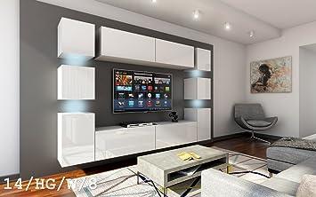 FUTURE 14 Moderno Conjunto De Muebles De Salón, Exclusivo Centro De Entretenimiento, Mueble TV, Gran Variedad De Colores (Iluminación RGB LED Opcional) (Sonoma base / Sonoma frente, sin LED) (14_HG_W_8, sin LED)