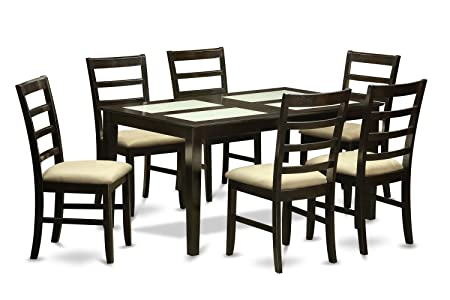 East West Furniture CAPF7G-CAP-C 7-Piece Dining Table Set