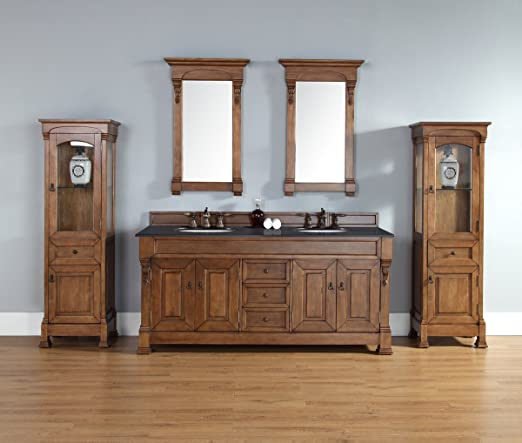 James Martin 147-114-5771-BLK Brookfield 72 Country Oak Double Vanity with Absolute Black Rustic Stone Top by James Martin