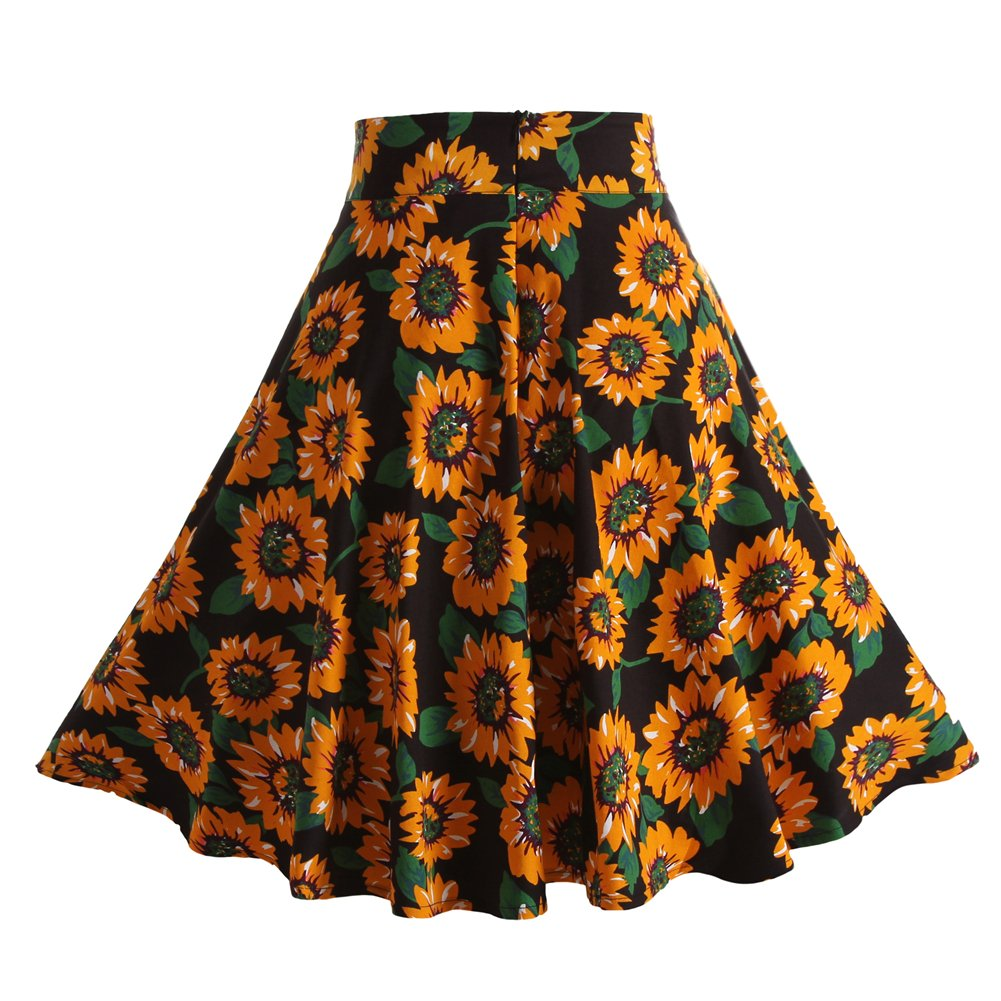 Fancyqube(TM) Women Pleated Vintage Skirts Floral Print Midi Skirt 1