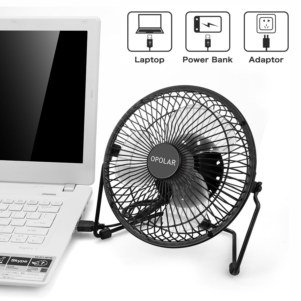 Opolar f501 desktop usb fan with upgraded 6 inch blades for Small quiet room fan