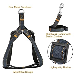 POWEROWL Dog Harness 4 in 1 Safety Harness Easy On/Off Adjustable No-Pull Outdoor Travel Strap Vest Harness with Leash, Seat Belt and Collar for Puppy