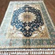 5.5x8 Green Floral Hand Knotted Persian Turkish Silk Carpets Oriental Area Rugs