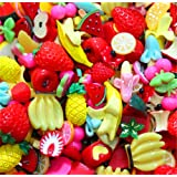 30 Pack Cute Candy Slime Beads Fruit Dessert Ice Cream Resin Charms Slices Flatback Buttons for Handcraft Accessories Scrapbooking Phone Case Decor (Fruit) (Color: Fruit, Tamaño: 10mm-25mm/0.39inch-1inch)