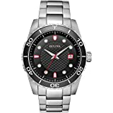Bulova Sport Black Dial Stainless Steel Mens Watch 98A195
